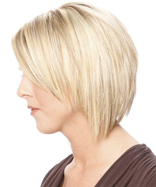 Medium Straight Casual   Hairstyle   - Light Blonde - Side on View