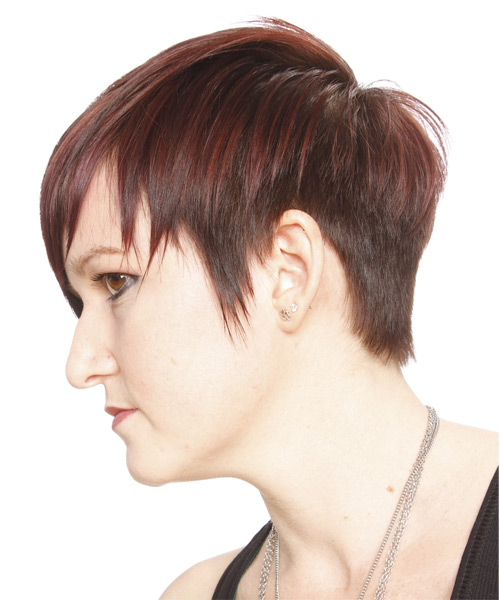Short Straight Casual    Hairstyle with Layered Bangs  - Medium Burgundy Red Hair Color - Side on View