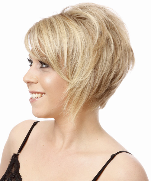 Short Straight Formal   Hairstyle with Side Swept Bangs  (Platinum) - Side on View