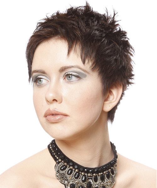 Short Straight    Chocolate Brunette   Hairstyle   - Side on View