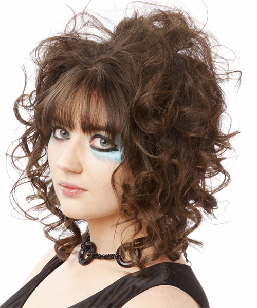 Medium Curly Casual    Hairstyle with Blunt Cut Bangs  -  Brunette Hair Color - Side on View