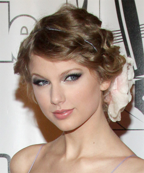Taylor Swift  Long Curly   Dark Ash Blonde  Updo    - Side on View