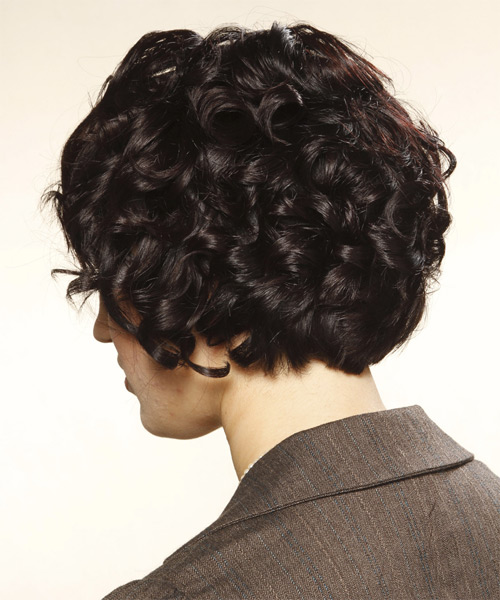 Short Curly Formal   Hairstyle with Blunt Cut Bangs  (Mocha) - Side on View