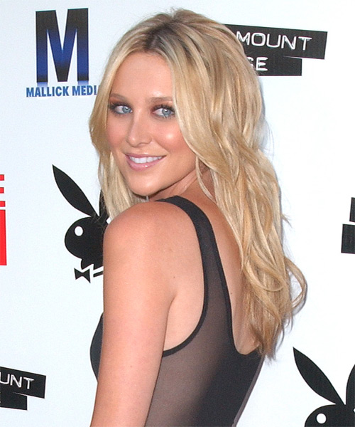 Stephanie Pratt Long Wavy Casual   Hairstyle   - Side on View