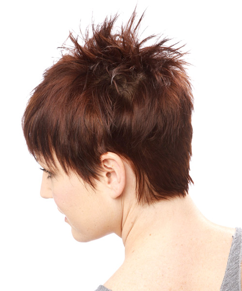 Short Straight    Auburn Brunette   Hairstyle   - Side on View
