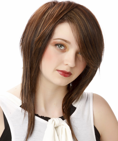 Medium Straight Casual   Hairstyle with Side Swept Bangs  - Dark Brunette (Chocolate) - Side on View