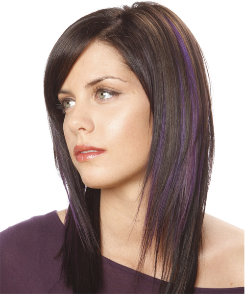 Long Straight Casual   Hairstyle with Side Swept Bangs  - Dark Brunette (Plum) - Side on View