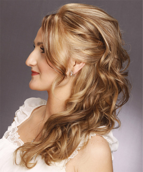 Half Up Long Curly Formal  Half Up Hairstyle   - Light Brunette - Side on View