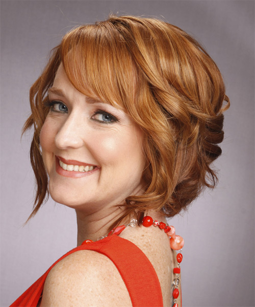Medium Wavy Formal   Hairstyle with Side Swept Bangs  (Copper) - Side on View