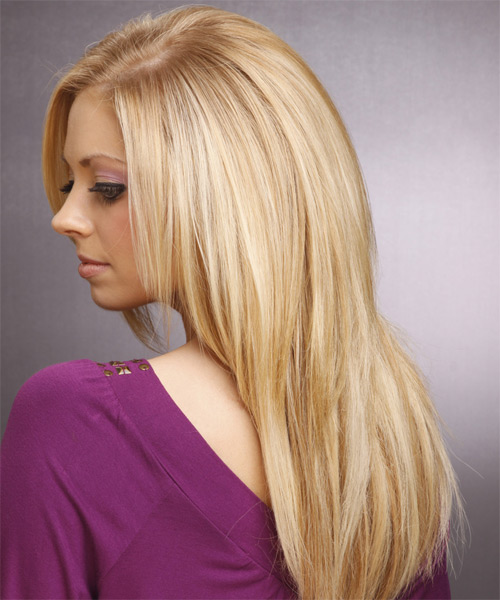 Long Straight Casual   Hairstyle   - Light Blonde - Side on View