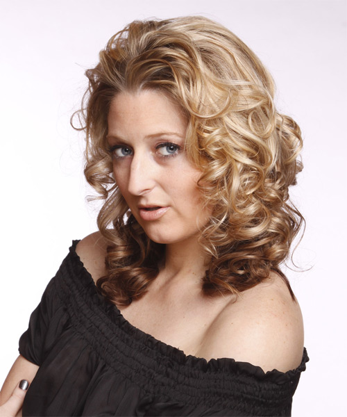Long Curly Formal   Hairstyle   - Medium Blonde (Chocolate) - Side on View