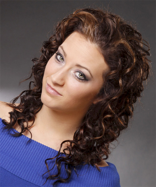 Long Curly Casual   Hairstyle   - Dark Brunette - Side on View