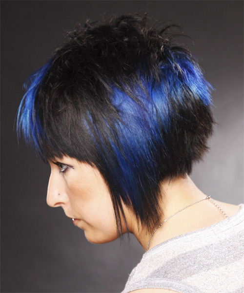 Short Straight Alternative    Hairstyle   - Black Ash  Hair Color with Blue Highlights - Side on View