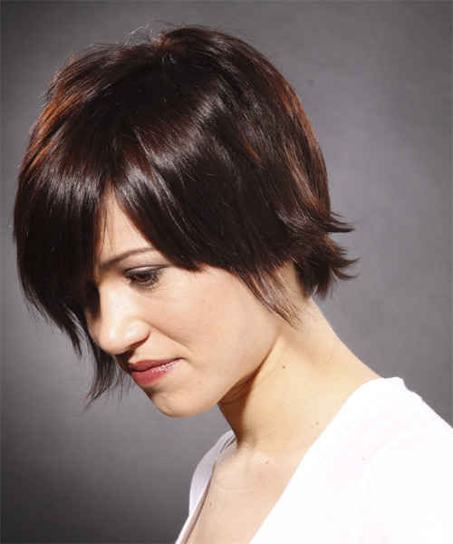 Short Straight Casual   Hairstyle   - Medium Brunette (Mocha) - Side on View
