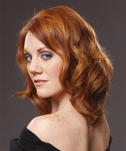 Medium Wavy Casual    Hairstyle   - Light Copper Red Hair Color - Side on View
