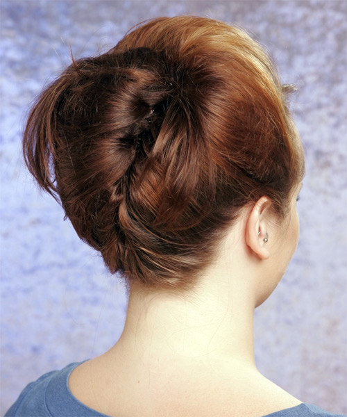 Long Straight   Light Copper Brunette  Updo  with Side Swept Bangs  - Side on View