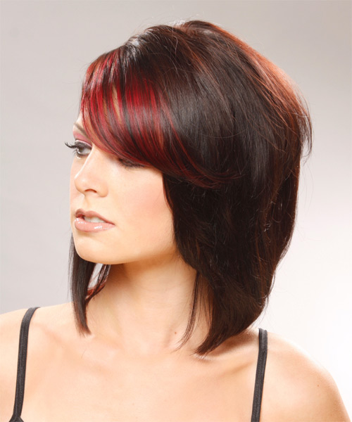 Medium Straight   Black Ginger  and  Red Two-Tone   Hairstyle   - Side on View