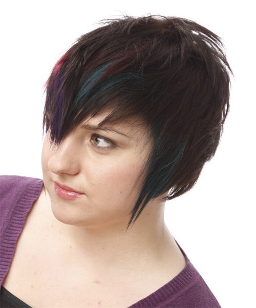 Short Straight Alternative    Hairstyle   - Black Plum  and Pink Two-Tone Hair Color with Blue Highlights - Side on View