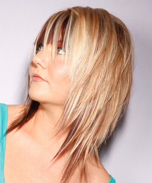 Medium Straight   Light Blonde and  Brunette Two-Tone   Hairstyle   - Side on View