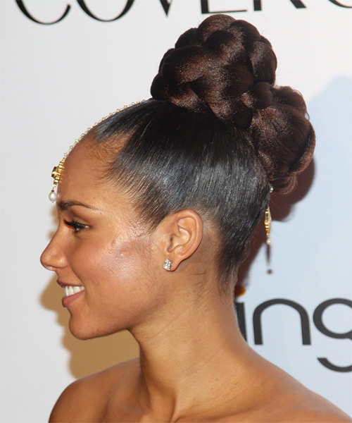 Alicia Keys Long Dark Chocolate Brunette Braided Updo with a top knot