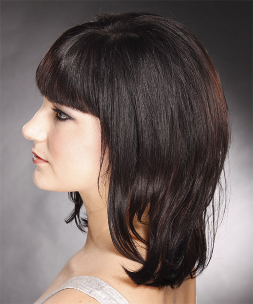 Medium Straight Formal    Hairstyle with Blunt Cut Bangs  - Dark Mocha Brunette Hair Color - Side on View