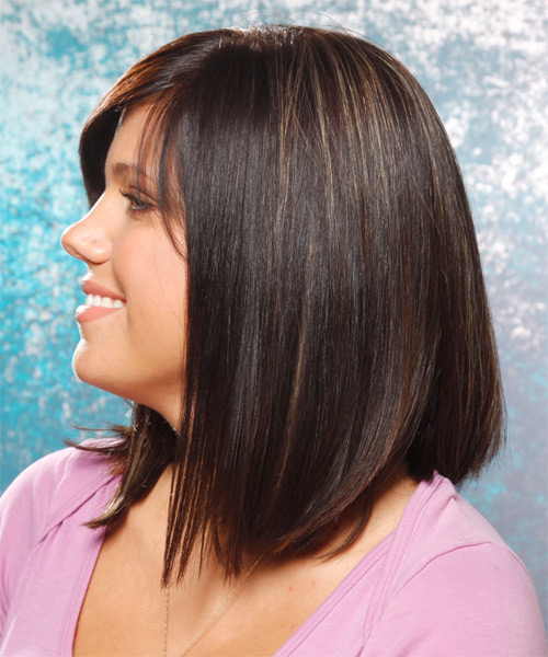 Medium Straight   Mocha   Hairstyle   with Light Blonde Highlights - Side on View