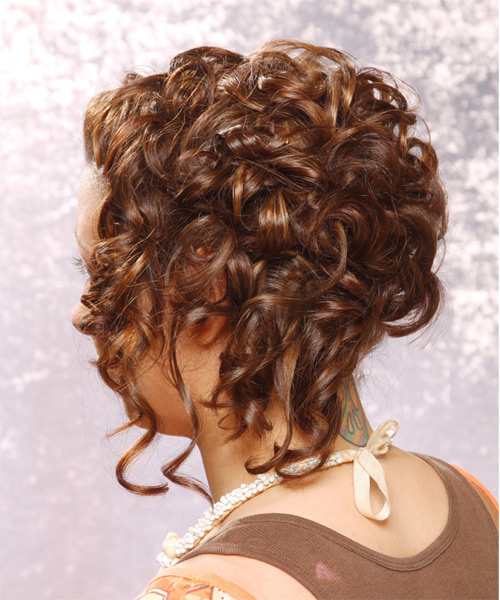 Updo Long Curly Formal  Updo Hairstyle   - Medium Brunette (Chestnut) - Side on View