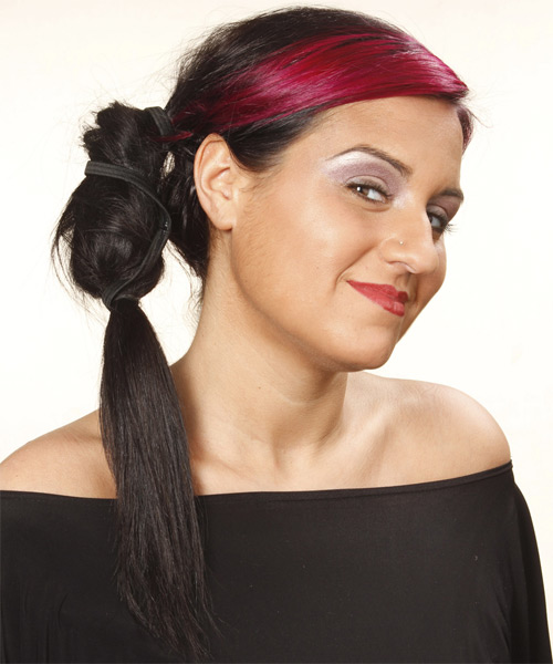 Long Curly Casual   Updo Hairstyle   - Dark Brunette and Purple Two-Tone Hair Color - Side on View