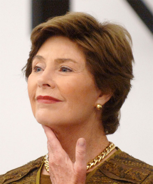 Laura Bush Short Straight Formal   Hairstyle   - Side on View
