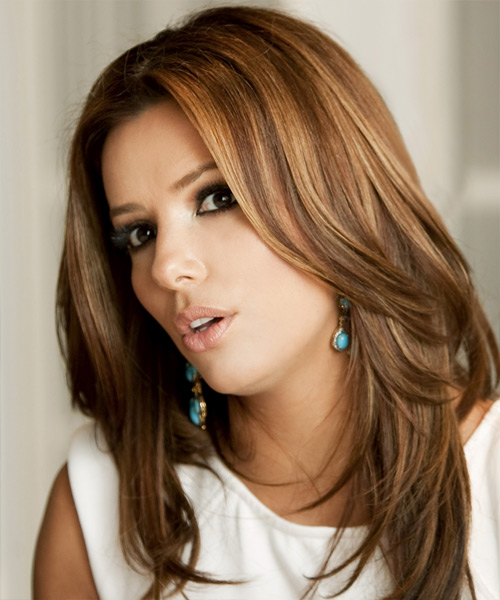 Eva Longoria Parker Long Straight Formal   Hairstyle   - Medium Brunette (Auburn) - Side on View