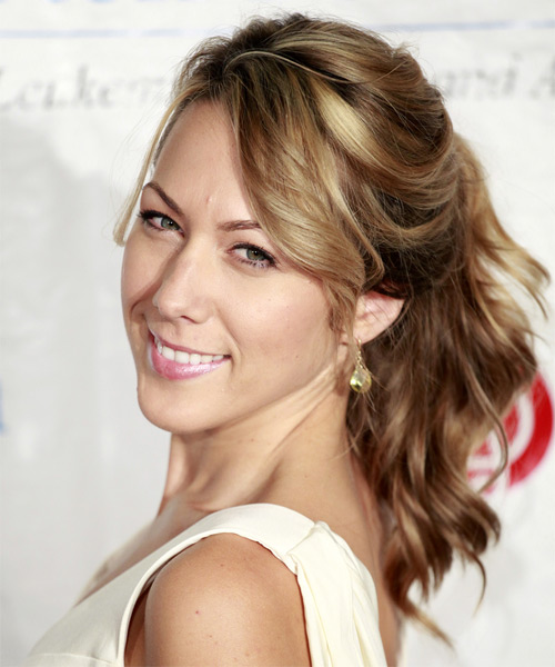 Colbie Caillat  Long Curly    Caramel Brunette  Updo    - Side on View