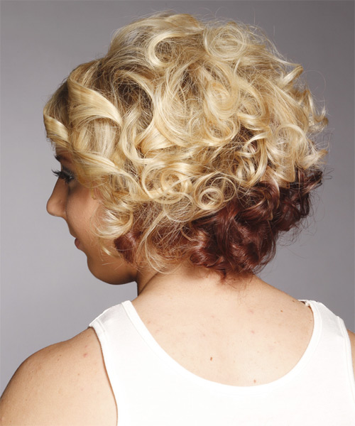 Medium Curly   Light Golden Blonde and Champagne Two-Tone   Hairstyle   - Side on View