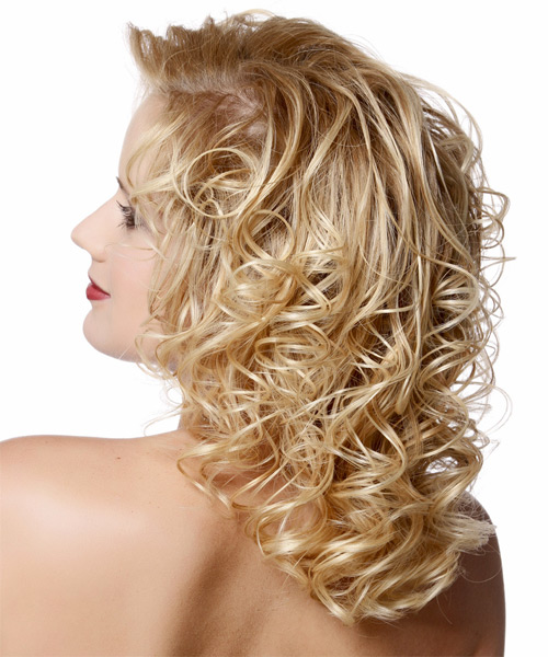 Medium Curly Formal    Hairstyle   - Light Golden Blonde Hair Color - Side on View