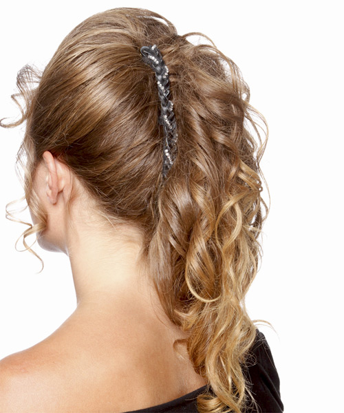 Long Curly Formal   Updo Hairstyle   - Light Golden Brunette Hair Color - Side on View
