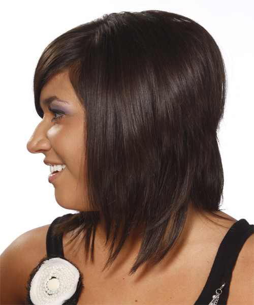 Medium Straight Formal    Hairstyle with Side Swept Bangs  - Dark Chocolate Brunette Hair Color - Side on View