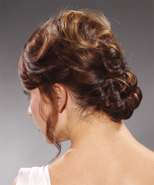 Long Curly Formal   Updo Hairstyle   - Medium Burgundy Brunette Hair Color - Side on View