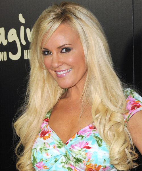 Bridget Marquardt Long Wavy   Light Platinum Blonde   Hairstyle with Side Swept Bangs  - Side on View