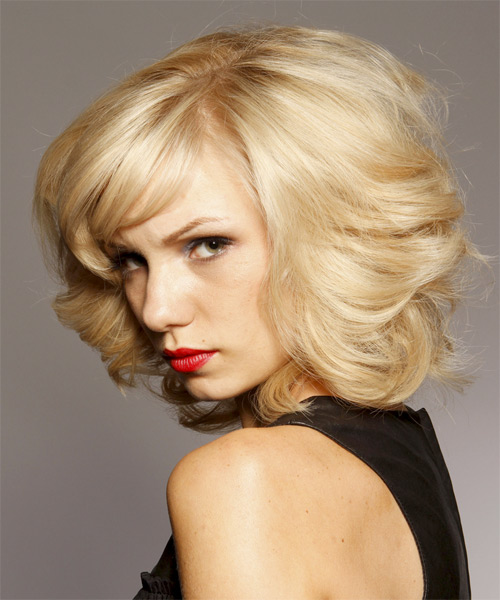 Medium Curly Layered  Light Blonde Bob  Haircut with Side Swept Bangs  - Side on View