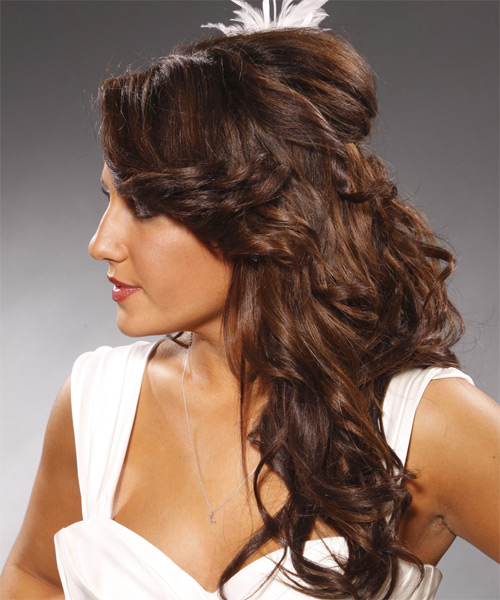 Half Up Long Curly Formal Wedding Half Up Hairstyle   - Medium Brunette - Side on View