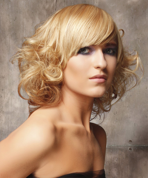 Medium Curly Formal    Hairstyle with Side Swept Bangs  - Light Blonde Hair Color - Side on View