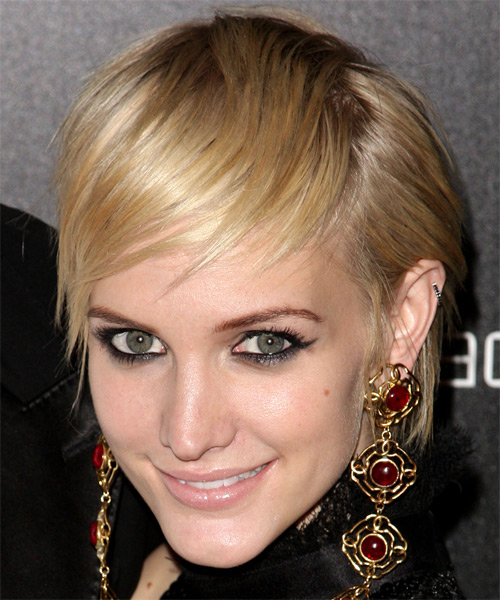 Ashlee Simpson Short Straight Casual  Pixie  Hairstyle with Side Swept Bangs  - Light Blonde Hair Color - Side on View