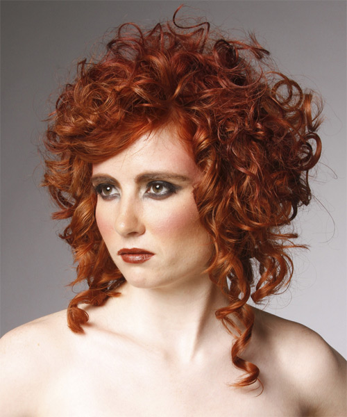 Medium Curly Formal    Hairstyle   - Medium Ginger Red Hair Color - Side on View