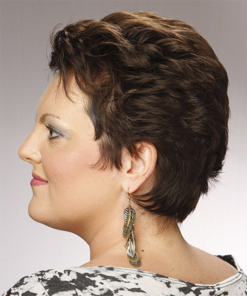 Short Straight Formal   Hairstyle   - Dark Brunette - Side on View