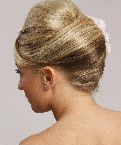 Long Straight Formal   Updo Hairstyle with Side Swept Bangs  - Light Champagne Blonde Hair Color - Side on View