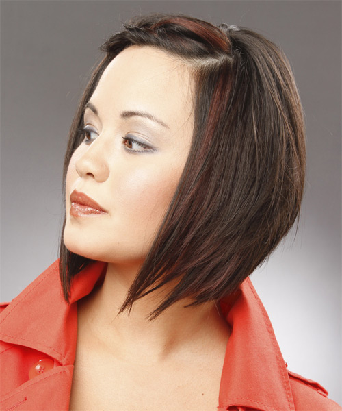 Medium Straight Formal   Hairstyle   - Black - Side on View