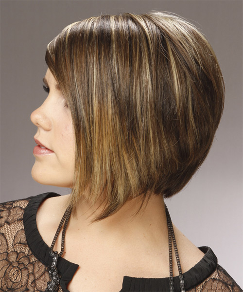Medium Straight    Caramel Brunette Bob  Haircut with Side Swept Bangs  and Light Blonde Highlights - Side on View