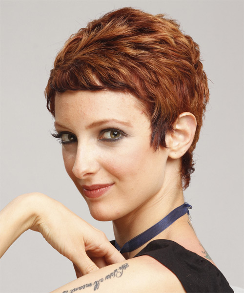 Short Straight Casual Pixie  Hairstyle   - Medium Brunette (Auburn) - Side on View