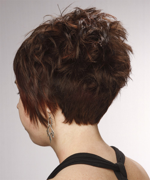 Layered   Chocolate Brunette Pixie  Cut with Side Swept Bangs  - Side on View