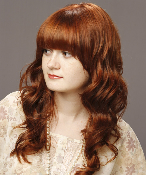 Medium Wavy   Light Auburn Brunette   Hairstyle with Blunt Cut Bangs  - Side on View