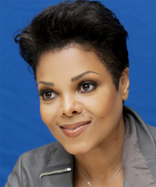 Janet Jackson  Short Straight Casual  Pixie  Hairstyle   - Black  Hair Color - Side on View